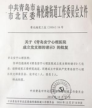 青岛安宁心理医院党支部正式成立